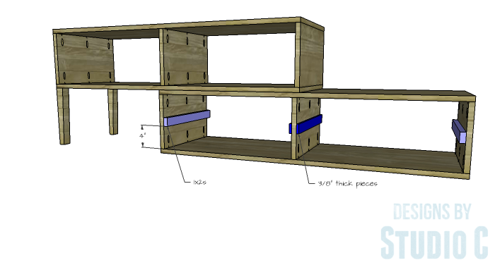 DIY Furniture Plans to Build a Contemporary Media Stand-Drawer Slide Spacers
