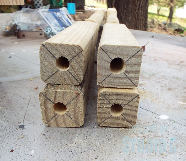 DIY Furniture Plans to Build a Fruit and Vegetable Bin - Holes in Ends of Legs