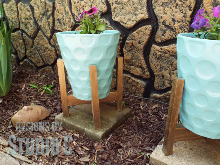 DIY Plant Stands Made with Recycled Wood - Stands Close Up View