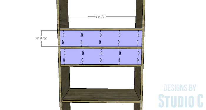 DIY Furniture Plans to Build an Open Bookcase with Drawers - Drawer Opening Back