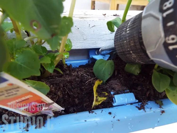 DIY Rain Gutter Planter - Mounting with Screws