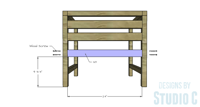 DIY Furniture Plans to Build a Modern Outdoor Chair - Rear Stretcher