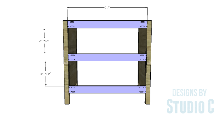 DIY Furniture Plans to Build an Open Shelf Sideboard - Back Stretchers