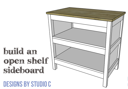 DIY Furniture Plans to Build an Open Shelf Sideboard - Copy