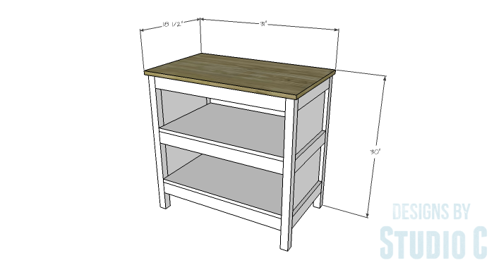 DIY Furniture Plans to Build an Open Shelf Sideboard