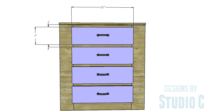 DIY Furniture Plans to Build a Dresser with Side Storage - Drawer Fronts