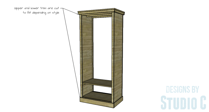 DIY Furniture Plans to Build a Freestanding Open Clothes Wardrobe - Upper & Lower Trim