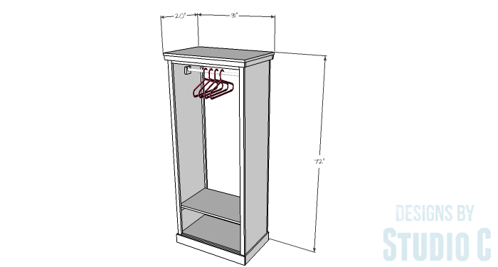 DIY Furniture Plans to Build a Freestanding Open Clothes Wardrobe