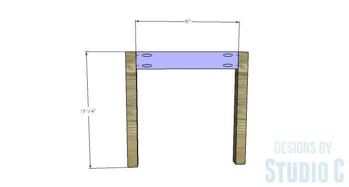 DIY Furniture Plans to Build a Long Chair Bench - Front Legs & Stretchers
