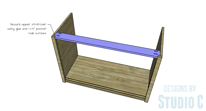 DIY Furniture Plans to Build a Stackable Cabinet - Upper Stretcher