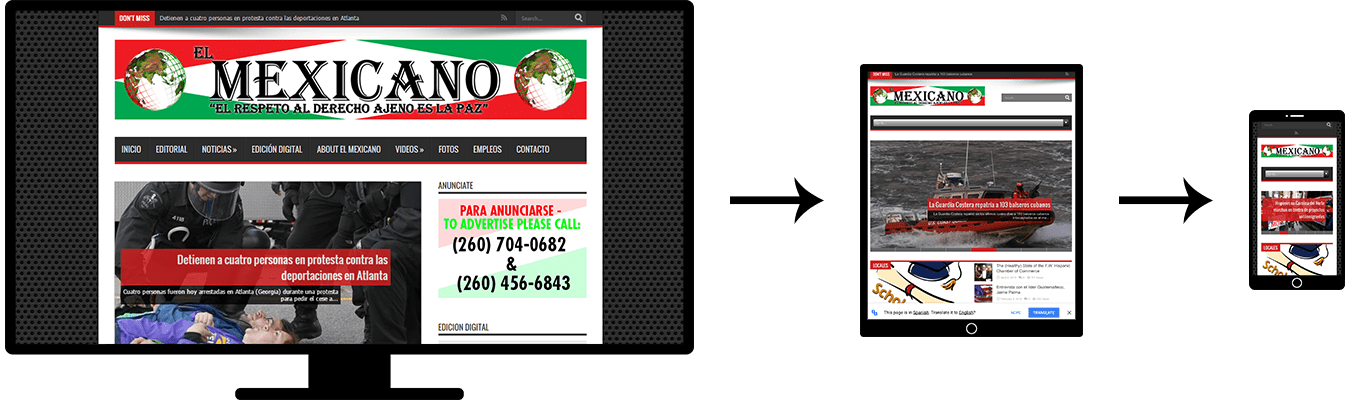 Image of three screenshots showing the responsive design of the El Mexicano News website