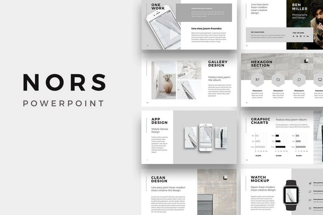 nors is a professionally designed powerpoint presentation template that features a minimalist design that uses just 2 colors it includes 130 unique slides - Minimalist Powerpoint Template Free 2