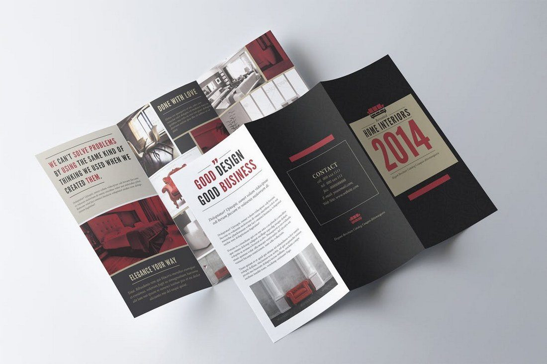 20  Best Tri Fold Brochure Templates  Word   InDesign    Design Shack Retro Trifold Brochure Template