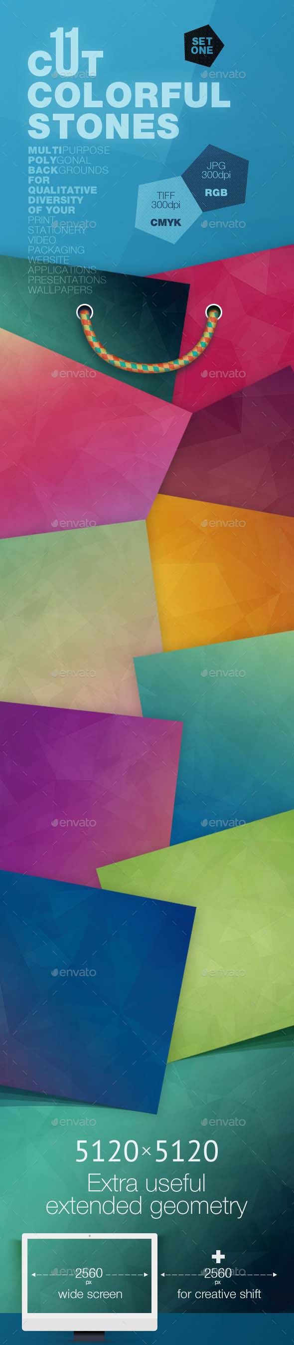 11 Cut Colorful Stones Backgrounds