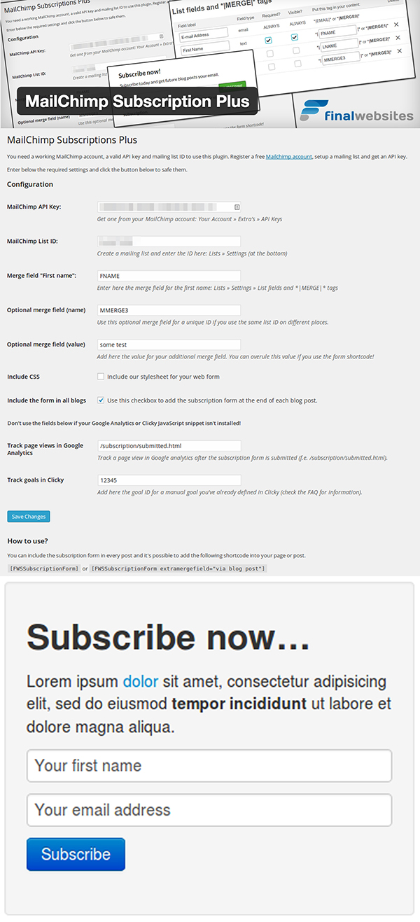 05 MailChimp Subscription Plus