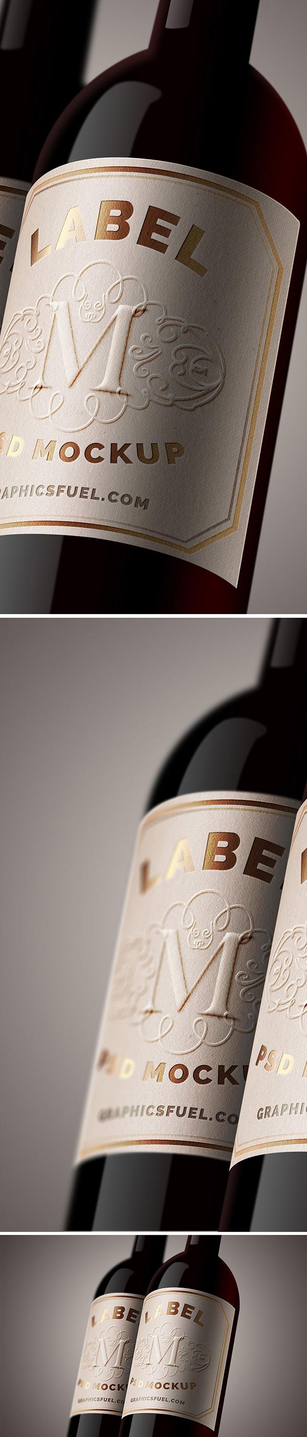 06 Free Wine Bottle Label Mockup