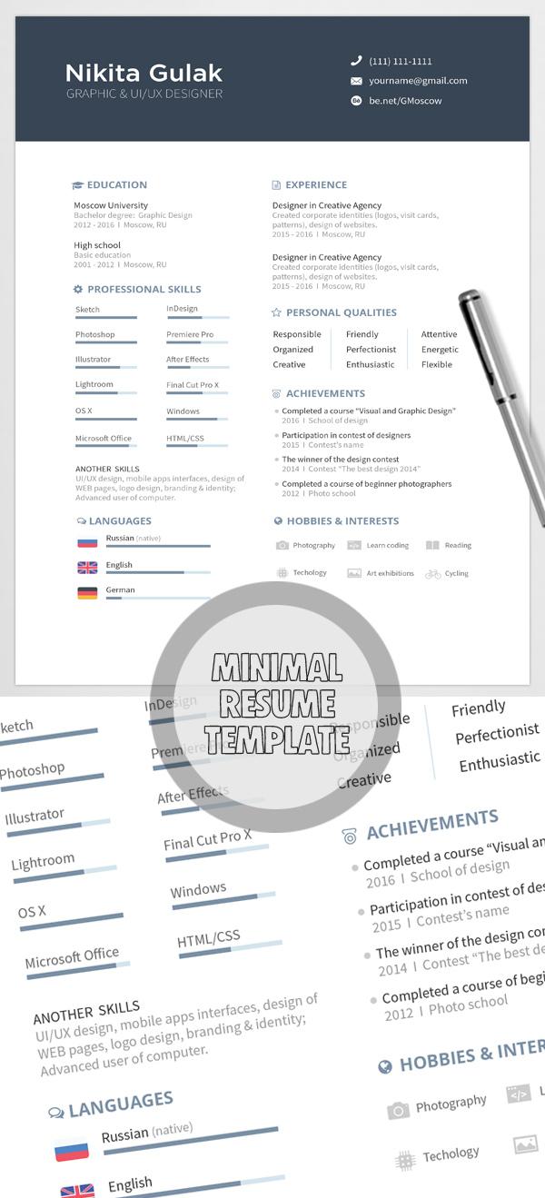 12 Free Minimalist Resume Template