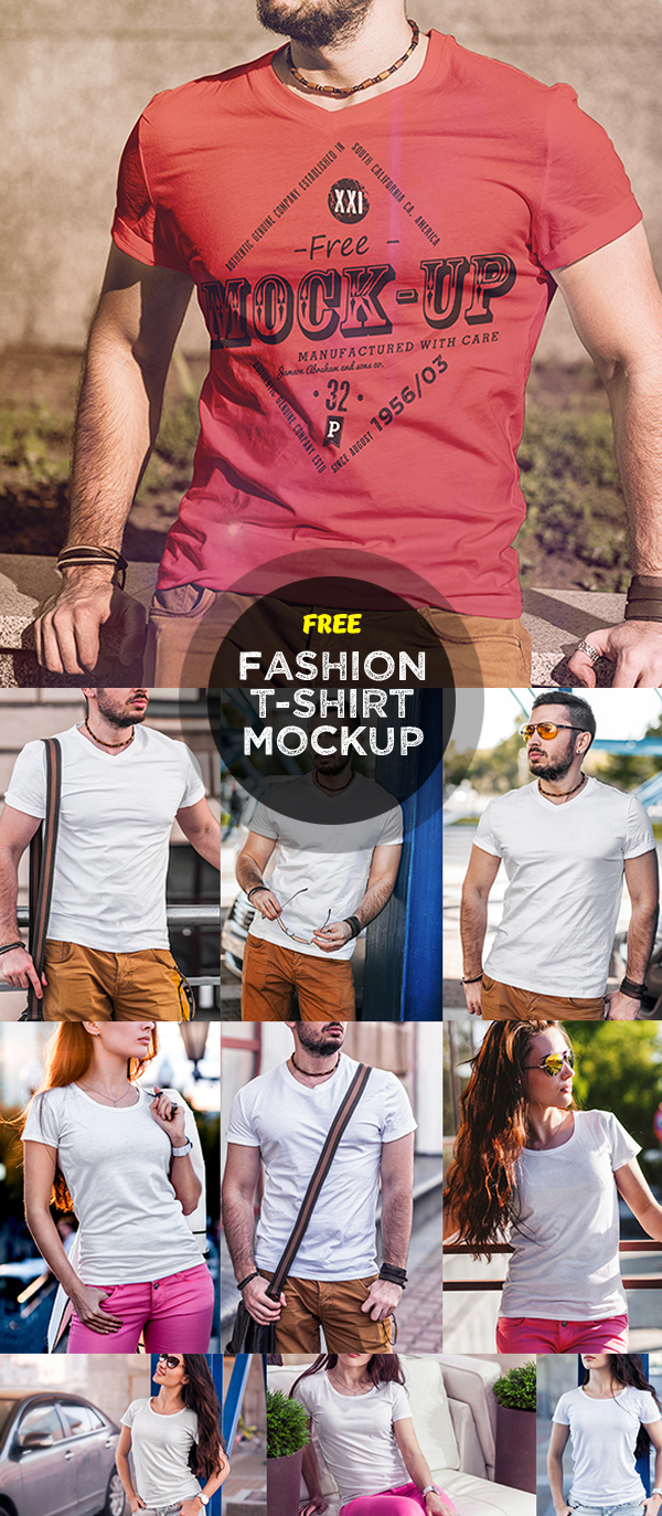 15 Free Men and Women T-Shirt Fashion Mock-Up