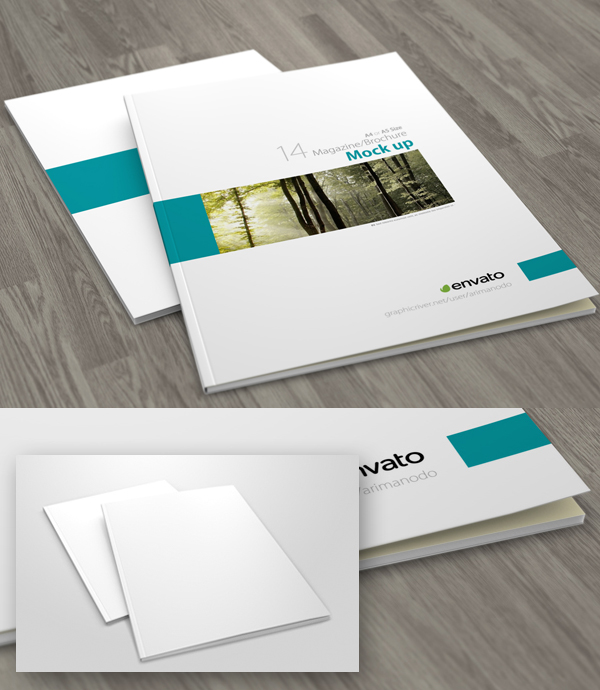 16 Free A4 Brochure : Magazine Cover Mockup