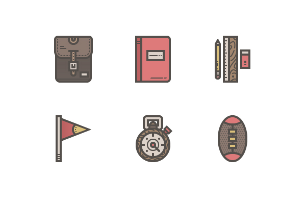 19 Free Retro High-School Icon Pack