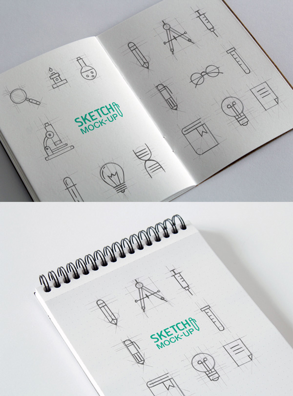 12 Sketchbook MockUps PSD