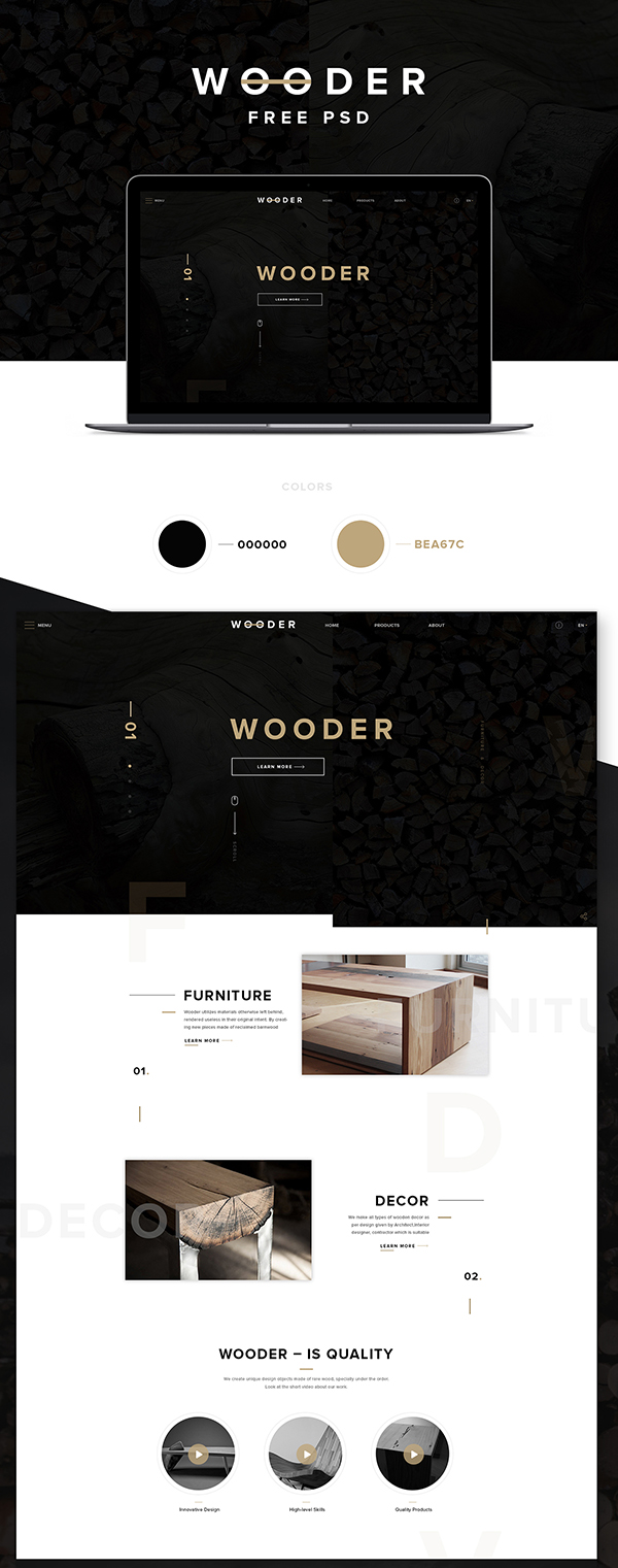 12 Wooder Free PSD Template