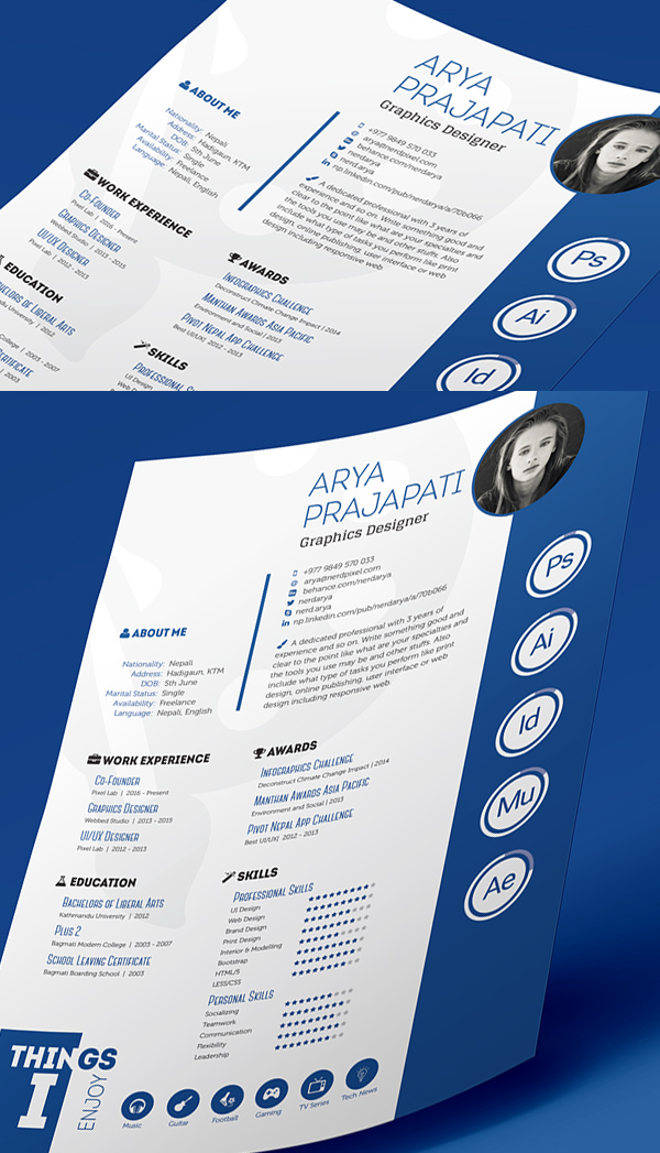 24 Free Print Ready InDesign Resume Template