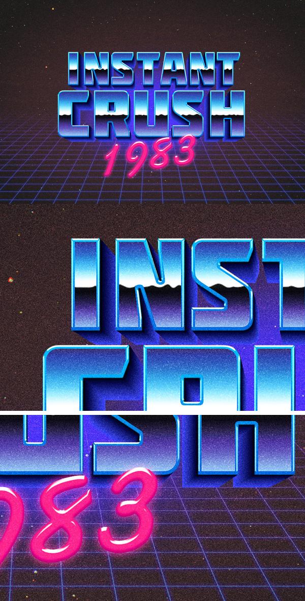 28 80s Retro Typography Effect