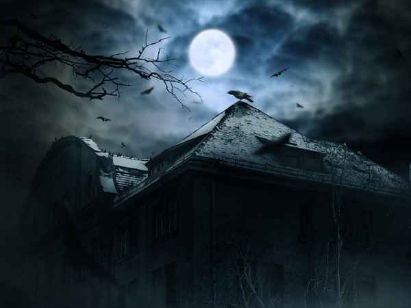10. Create a Haunted House Scene with Photoshop