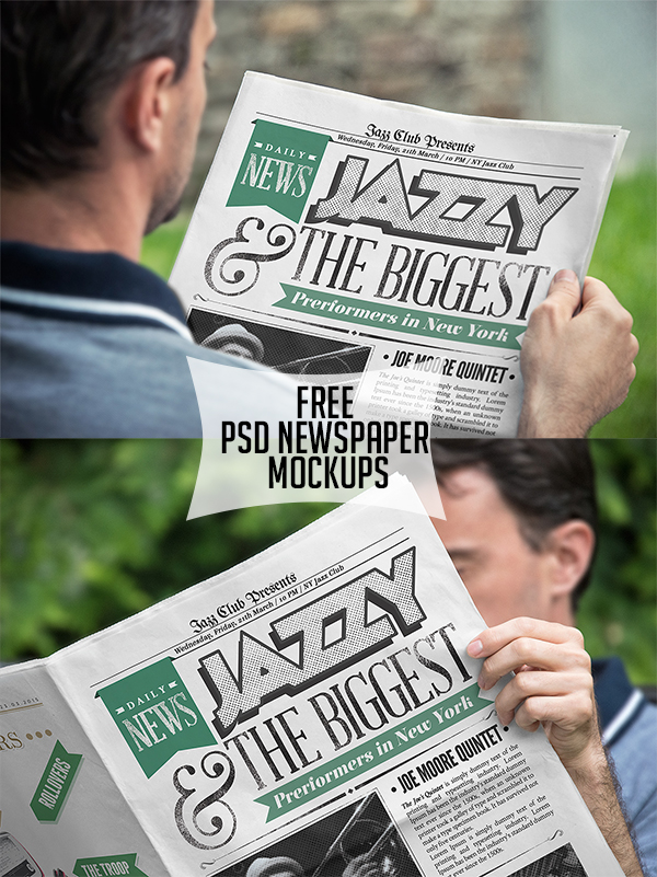 18 Free PSD Newspaper Mockups