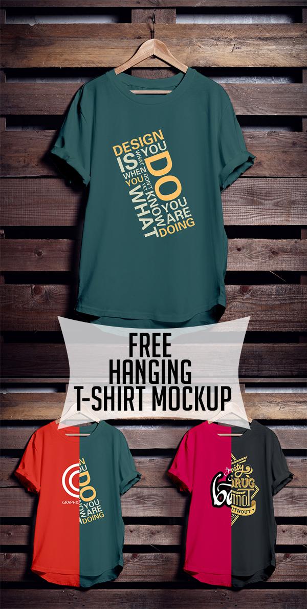 21 Free Hanging T-Shirt Mockup