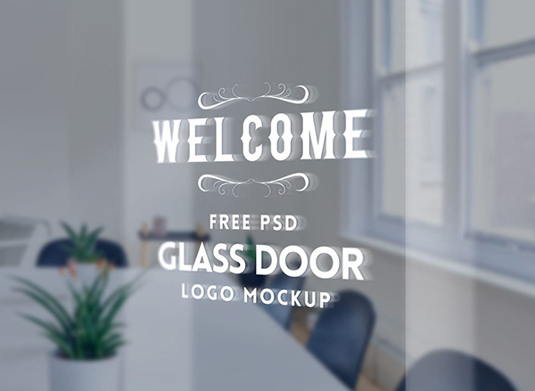 21 Glass Door Logo Mockup