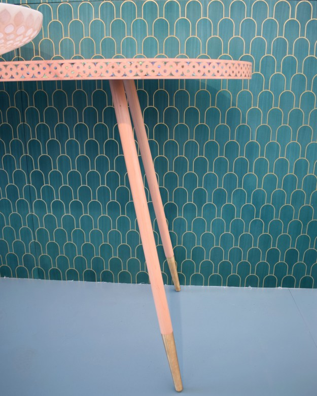 Bethan Gray marquetry pink table at Design Junction 2016