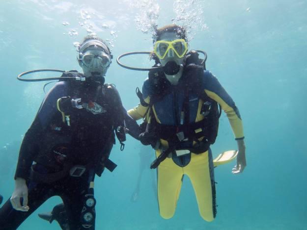 Sisters underwater