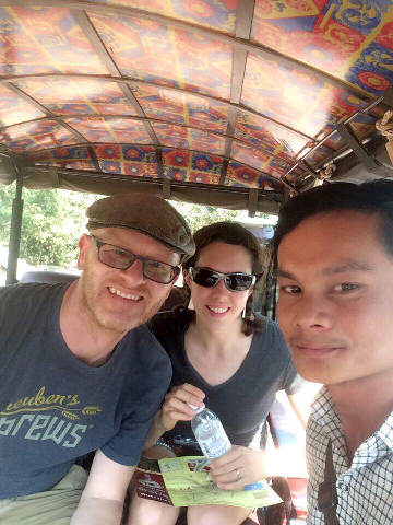 Us with KD, our tuktuk driver in Siem Reap and Angkor.