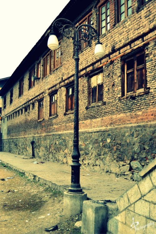 lamp post in a street in Srinagar kashmir