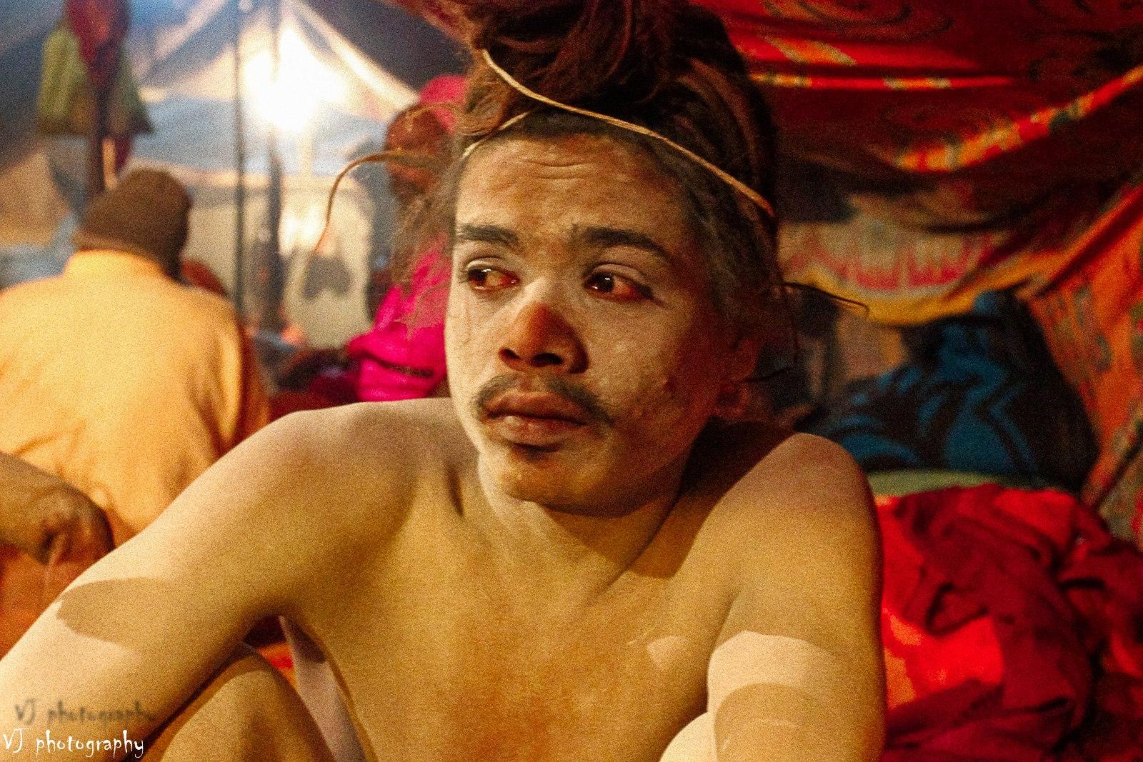 Red Eyes Naga Sadhu portrait Kumbh mela