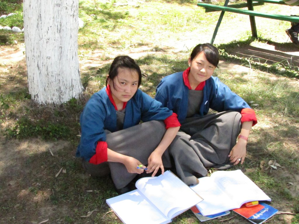 Girl students smiling in Bhutan