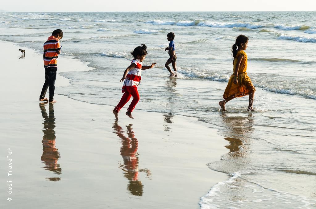 Kids playing on Goa Beach