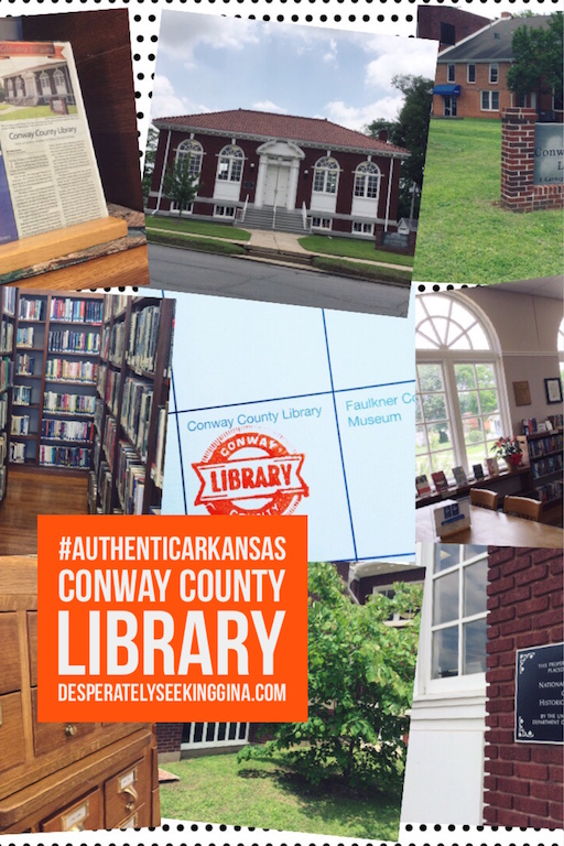Follow along asDesperately Seeking Gina travels #AuthenticArkansas in search of the next stamp in her Arkansas National Register Passport. Latest stop-the Conway County Library which is celebrating its 100th anniversary this year.