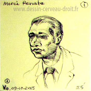 Dessin sur Post-it d'une tête imaginaire, réalisé par Richard Martens, le 9 octobre 215.