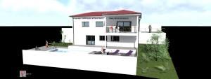 Axonométrie - Façade Sud - Piscine et terrasse Sud