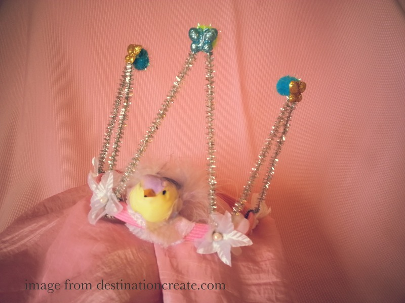 Silver tinsel bird crown