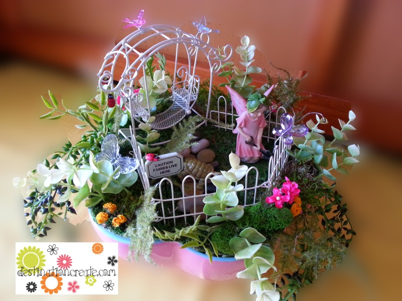 Fairy garden in a pink scalloped bowl
