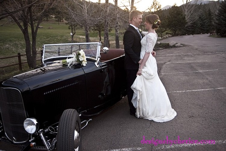Wedding get away in a vintage roadster