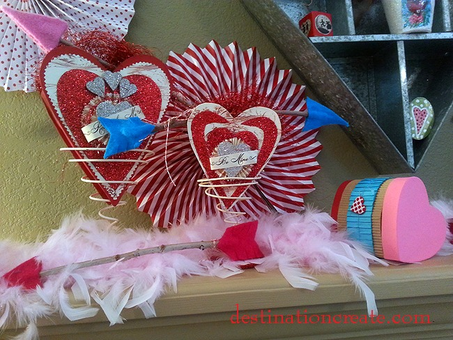 Valentine arrow on mantel