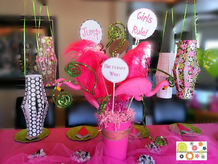 Girly Birthday Party centerpiece and paper lanterns