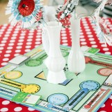 Vintage Wedding Rentals Denver- game board centerpiece