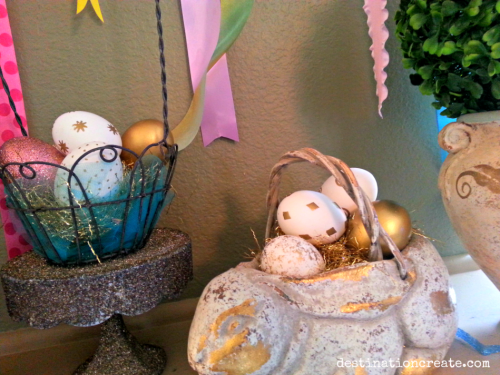 Easter mantel-embossed eggs
