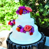 Display cake on this tree trunk slab for a rustic touch